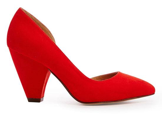 ASOS red mid-height heels