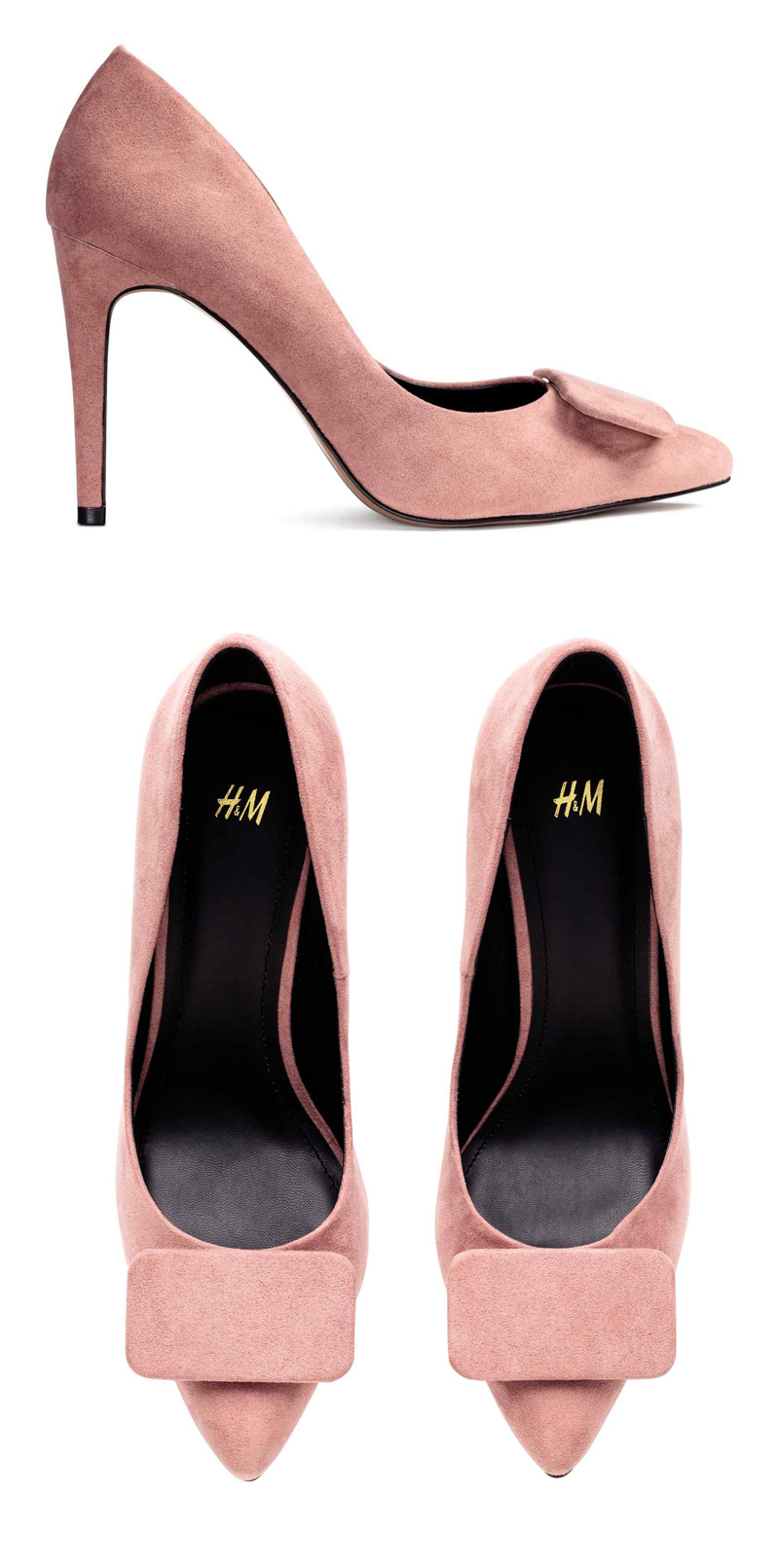 pink suede court shoes