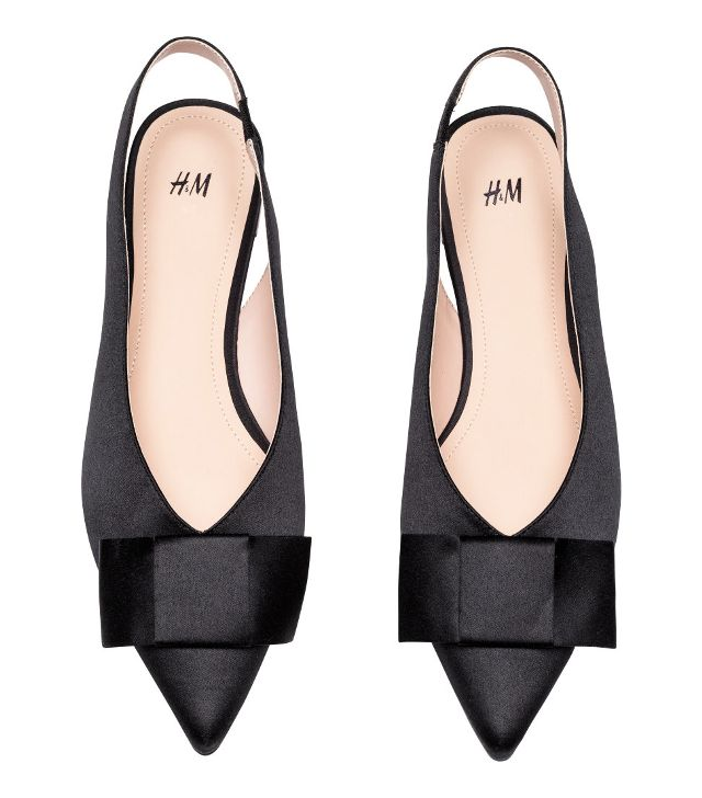 H&M Satin Slingbacks in Black